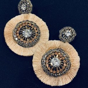 Round drop earrings with string embellishment